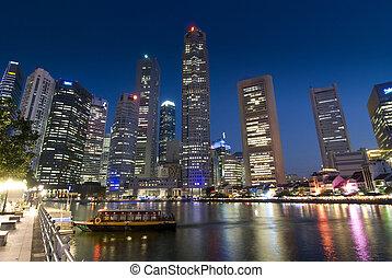 Evening lights at Raffles Place, Singapore River