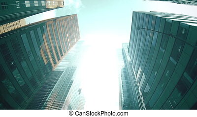 Financial district skyscrapers and buildings. - A high angle...