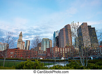 Financial District with Custom House Tower in North End Park