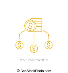 Financial diversification line icon with coins, eps 10 file, easy to edit