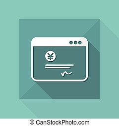 Financial document - Yen - Vector flat icon