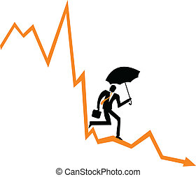 Businessman running down on a financial graph/financial downturn vector illustration