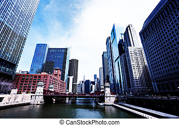 Financial downtown district view in Chicago, USA - Financial...