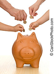 Financial education and discipline concept - Hands of...