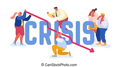 Financial Fail, Economy Crisis Concept. Businesspeople Frustrated about Arrow Diagram Going Down. Investment Risk Corporate Money Problem Poster Banner Flyer Brochure. Cartoon Flat Vector Illustration