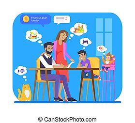 Financial Family Plan Poster Vector Illustration