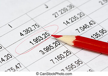 financial figures and red pencil - accounting balance sheets...