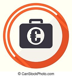 Financial flat design vector web icon. Round orange internet button isolated on white background.