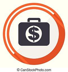 Financial flat design vector web icon. Round orange internet button isolated on white background.