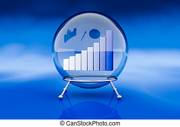 financial forecasts - one crystal ball with a bar chart...
