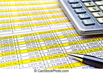 Financial forms with pen and calculator.