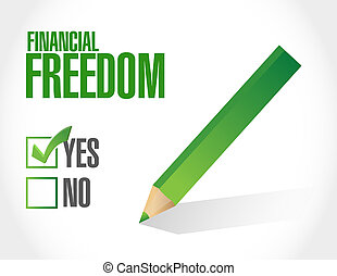 financial freedom approval sign illustration design graphic