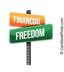 financial freedom illustration design over a white...