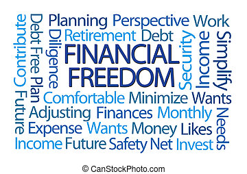 Financial Freedom Word Cloud on White Background