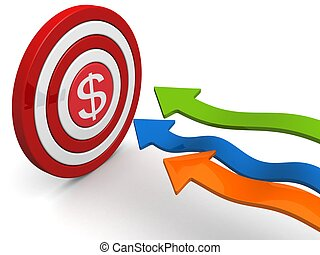 Financial goal and target concept - Arrows aiming dollar ...
