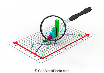 Financial graph and magnifying gla