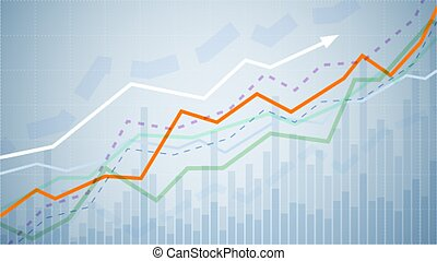 Financial graph chart. Business data analytics. Monitoring finance profit and statistic. Graph chart of stock market investment trading. Abstract analisys and statistic diagram. vector illustration