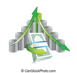 financial graph illustration design graphic over a white background