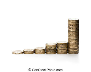 Financial growth concept of 1 pound stacked coins isolated ...