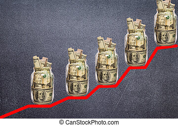 Financial growth concept with dollar bills ladder