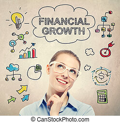 Financial Growth concept with young business woman