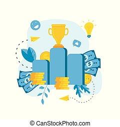 Financial growth illustration. Business success flat design concept