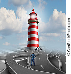 Financial guidance and business crisis solution concept with a businessman standing on a group of confusing roads and streets with a guiding light from a lighthouse as a metaphor for finding the path to success.