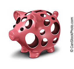 Financial hole concept as a ceramic pink piggy bank with empty holes as a metahor for a money crisis and lost savings stress.