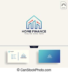 financial home, logo template vector illustration with business card