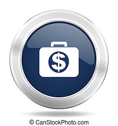 financial icon, dark blue round metallic internet button, web and mobile app illustration