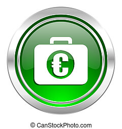 financial icon, green button