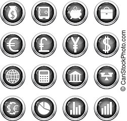 financial icon set - Big collection of financial icons for...