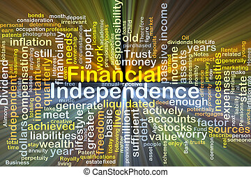 Financial independence background concept glowing