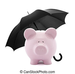 Financial insurance. Piggy bank with umbrella