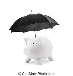 Financial insurance. White piggy bank with umbrella