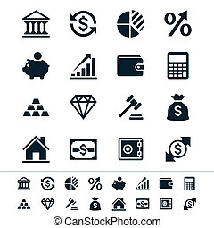 Financial investment icons - Simple vector icons. Clear and...