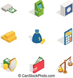 Financial investment icons, isometric 3d style