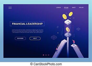 Financial leadership - modern isometric vector website header