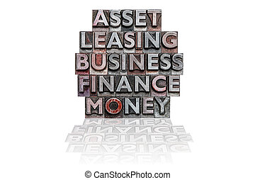 Financial letterpress word stack