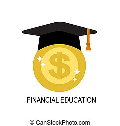 financial literacy in people - a shiny gold coin in a black...