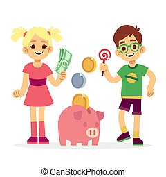 Financial literacy of children concept. Kids saving money with piggy bank