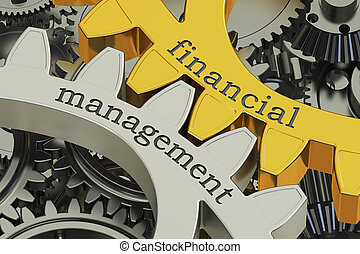 Financial Management concept on the gears, 3D rendering