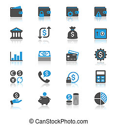 Financial management flat with reflection icons