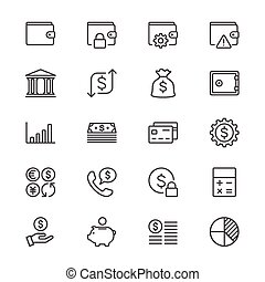 Financial management thin icons