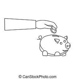 Financial management vector concept: Hands saving money in piggy bank on white background