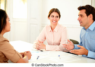 Financial manager explaining at business meeting