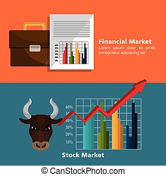 Financial market and investments graphic design with icons, vector illustration