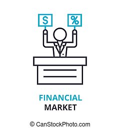 financial market concept , outline icon, linear sign, thin...