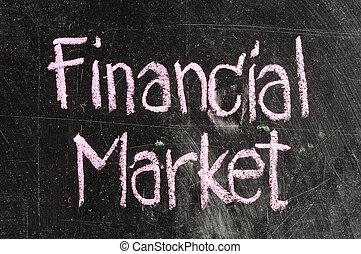 FINANCIAL MARKET handwritten with white chalk on a...