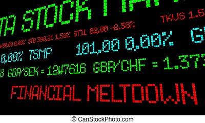 Financial meltdown stock ticker